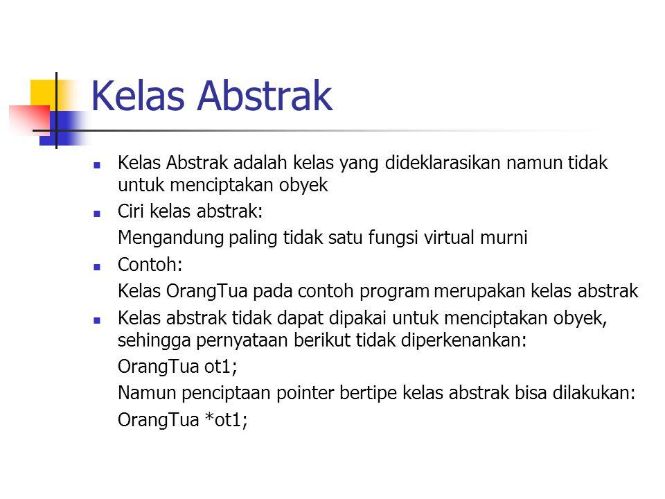 Kelas Abstrak Kelas Abstrak adalah kelas yang dideklarasikan namun tidak untuk menciptakan obyek Ciri kelas abstrak: Mengandung paling tidak satu fung