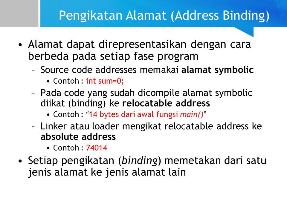 Pengikatan Alamat (Address Binding) Alamat dapat direpresentasikan dengan cara berbeda pada setiap fase program –Source code addresses memakai alamat symbolic Contoh : int sum=0; –Pada code yang sudah dicompile alamat symbolic diikat (binding) ke relocatable address Contoh : 14 bytes dari awal fungsi main() –Linker atau loader mengikat relocatable address ke absolute address Contoh : 74014 Setiap pengikatan (binding) memetakan dari satu jenis alamat ke jenis alamat lain