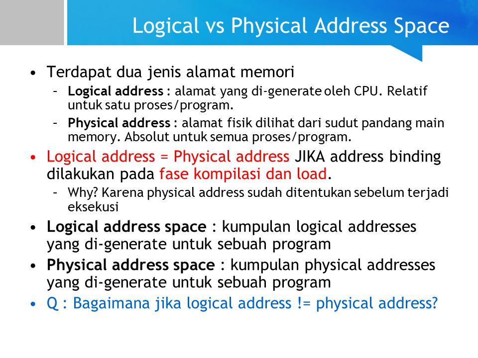 Logical vs Physical Address Space Terdapat dua jenis alamat memori –Logical address : alamat yang di-generate oleh CPU.