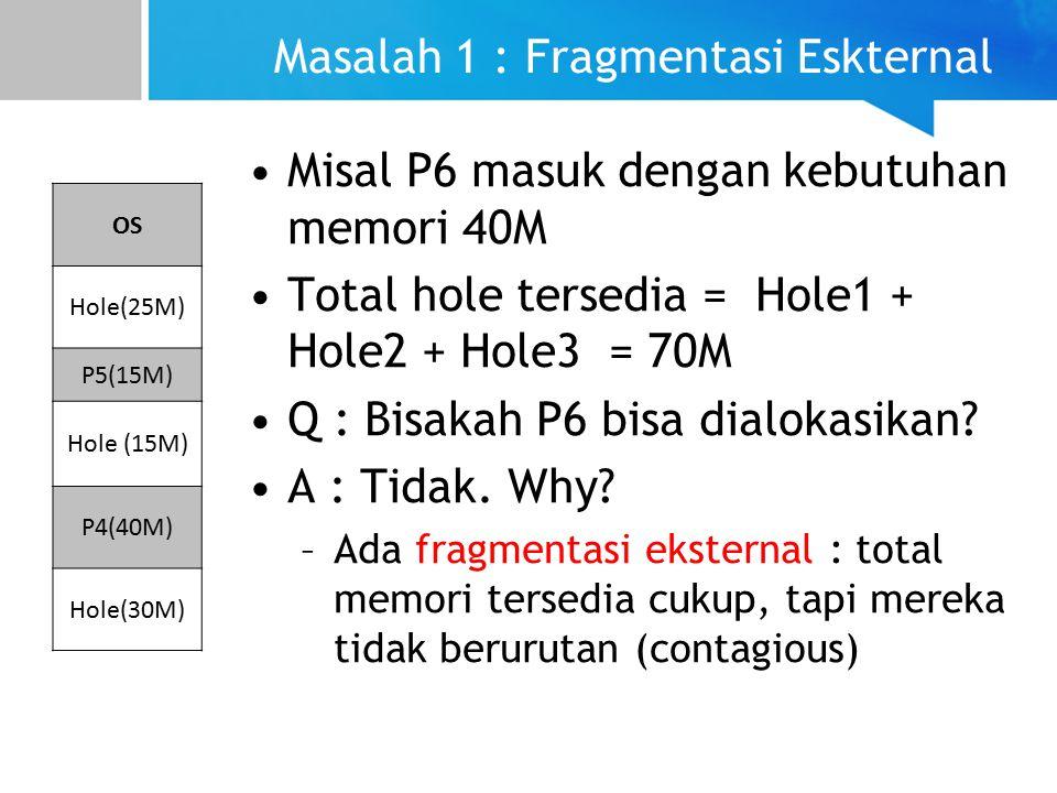 Masalah 1 : Fragmentasi Eskternal Misal P6 masuk dengan kebutuhan memori 40M Total hole tersedia = Hole1 + Hole2 + Hole3 = 70M Q : Bisakah P6 bisa dialokasikan.