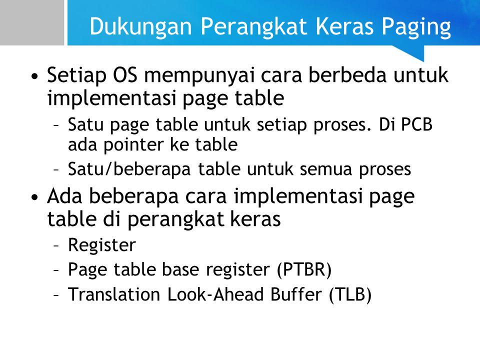 Dukungan Perangkat Keras Paging Setiap OS mempunyai cara berbeda untuk implementasi page table –Satu page table untuk setiap proses.