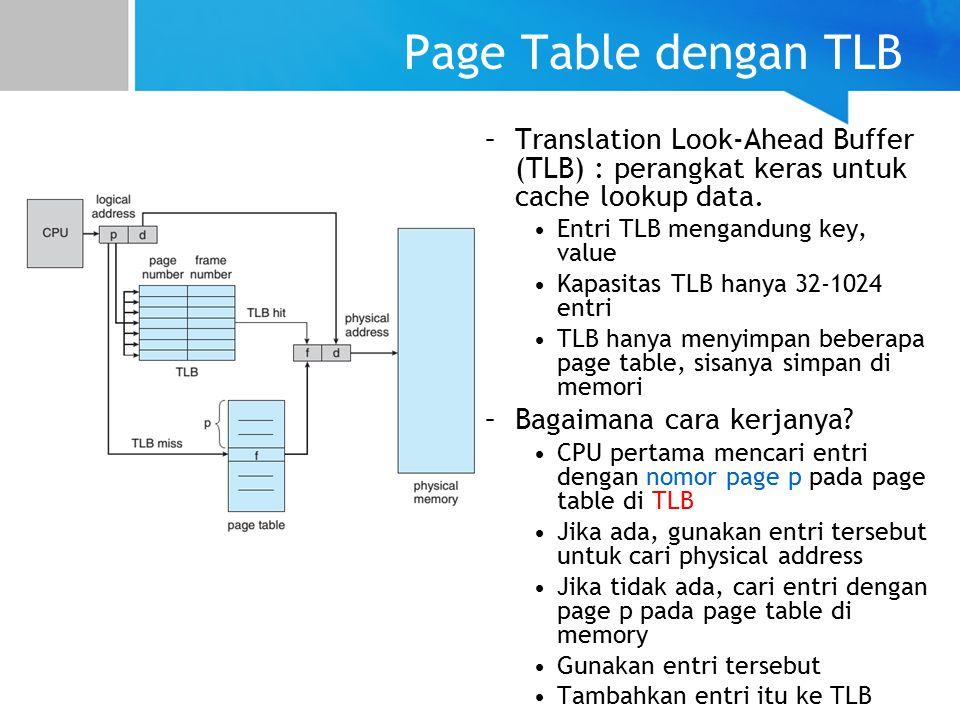 Page Table dengan TLB –Translation Look-Ahead Buffer (TLB) : perangkat keras untuk cache lookup data.