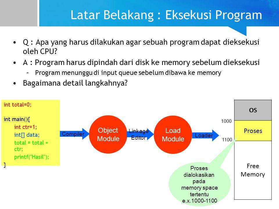 Latar Belakang : Eksekusi Program Q : Apa yang harus dilakukan agar sebuah program dapat dieksekusi oleh CPU.