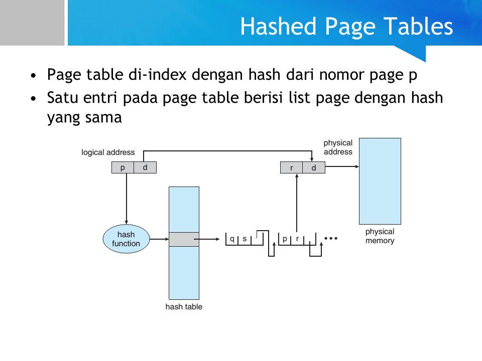 Hashed Page Tables Page table di-index dengan hash dari nomor page p Satu entri pada page table berisi list page dengan hash yang sama