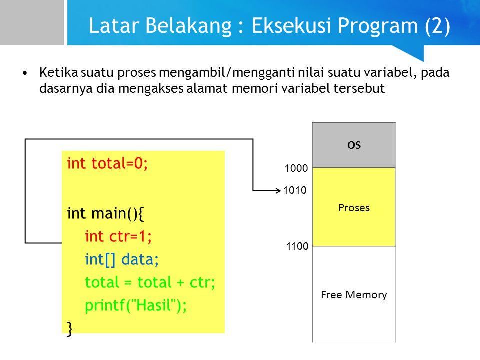 Latar Belakang : Eksekusi Program (2) int total=0; int main(){ int ctr=1; int[] data; total = total + ctr; printf( Hasil ); } OS Proses Free Memory 1000 1100 1010 Ketika suatu proses mengambil/mengganti nilai suatu variabel, pada dasarnya dia mengakses alamat memori variabel tersebut