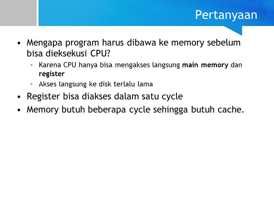 Single Partition Contiguous Allocation (2) Memori dibagi menjadi SATU partisi/bagian Hanya ada satu proses yang dapat diload ke memory sekali waktu –Tidak ada konsep concurrency atau parralellism Masalah Bagaimana caranya agar beberapa proses bisa diload secara bersamaan?
