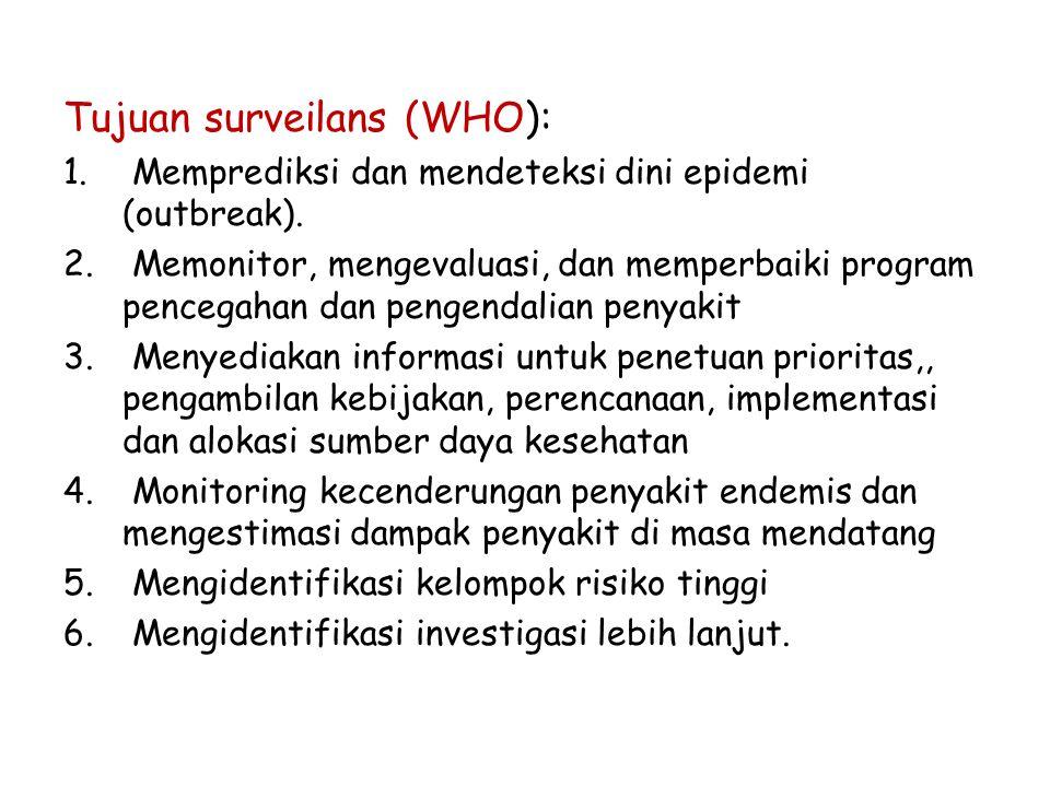 Tujuan surveilans (WHO): 1. Memprediksi dan mendeteksi dini epidemi (outbreak). 2. Memonitor, mengevaluasi, dan memperbaiki program pencegahan dan pen