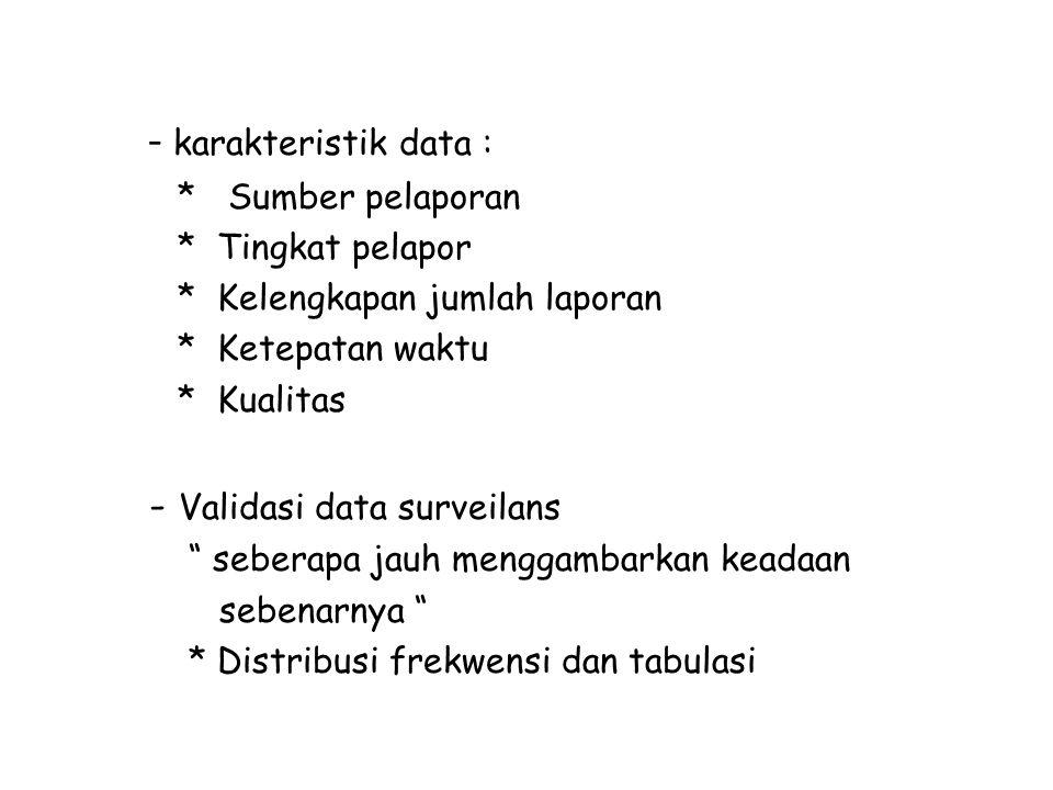 "- karakteristik data : * Sumber pelaporan * Tingkat pelapor * Kelengkapan jumlah laporan * Ketepatan waktu * Kualitas - Validasi data surveilans "" seb"