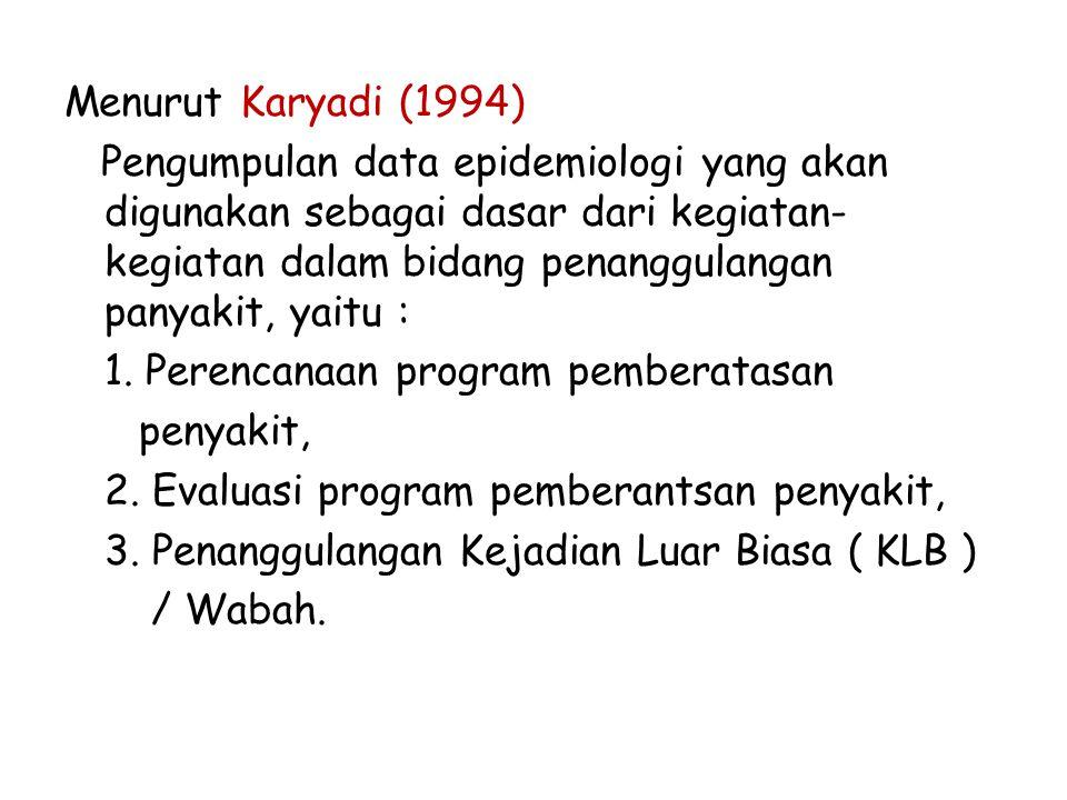 Menurut Karyadi (1994) Pengumpulan data epidemiologi yang akan digunakan sebagai dasar dari kegiatan- kegiatan dalam bidang penanggulangan panyakit, y