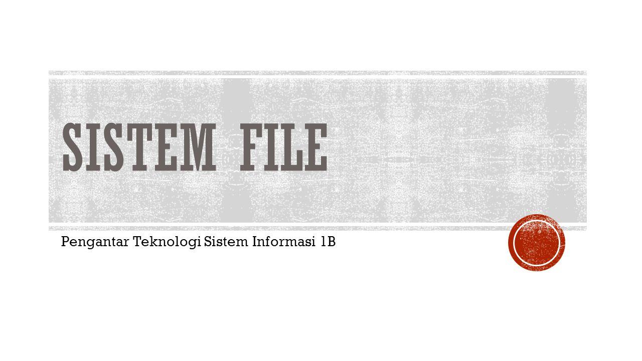 SISTEM FILE Pengantar Teknologi Sistem Informasi 1B