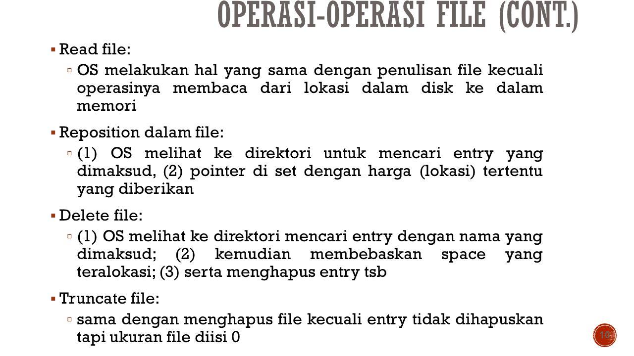 OPERASI-OPERASI FILE (CONT.)  Read file:  OS melakukan hal yang sama dengan penulisan file kecuali operasinya membaca dari lokasi dalam disk ke dala