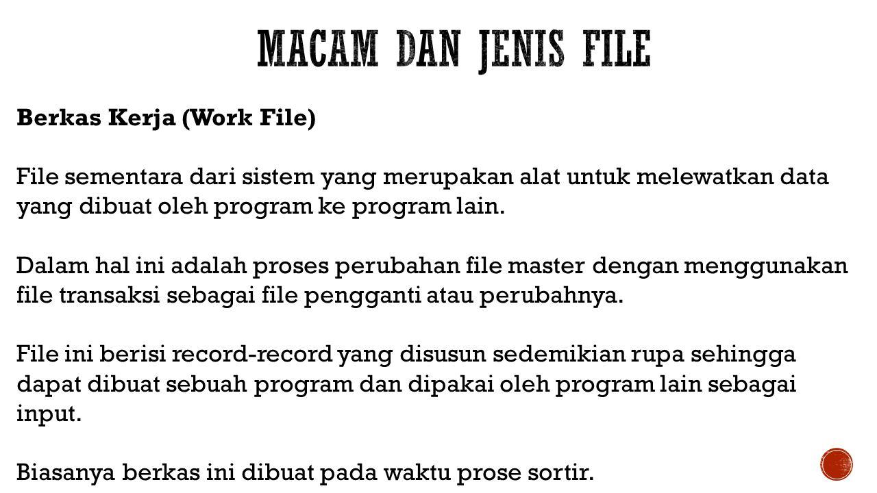 Berkas Kerja (Work File) File sementara dari sistem yang merupakan alat untuk melewatkan data yang dibuat oleh program ke program lain. Dalam hal ini