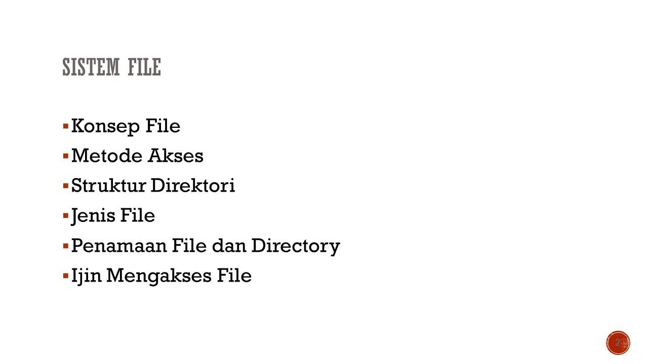 SISTEM FILE  Konsep File  Metode Akses  Struktur Direktori  Jenis File  Penamaan File dan Directory  Ijin Mengakses File 2