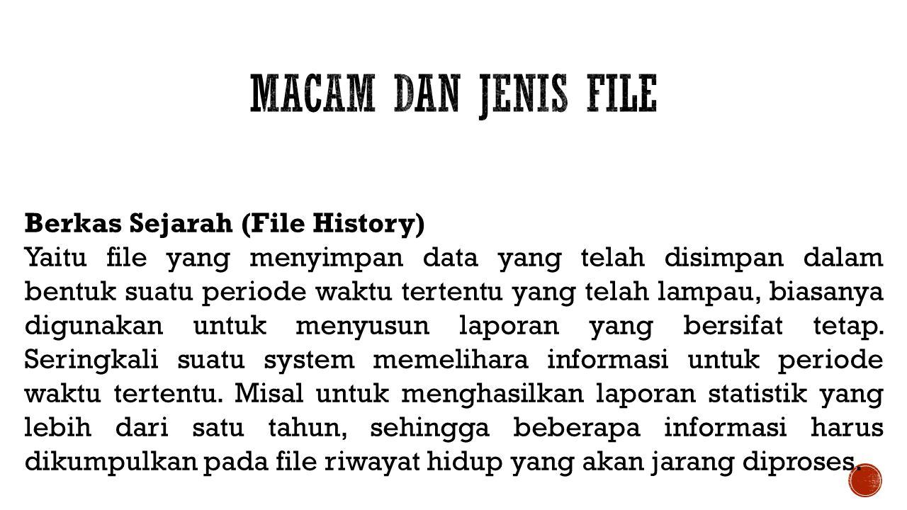 Berkas Sejarah (File History) Yaitu file yang menyimpan data yang telah disimpan dalam bentuk suatu periode waktu tertentu yang telah lampau, biasanya