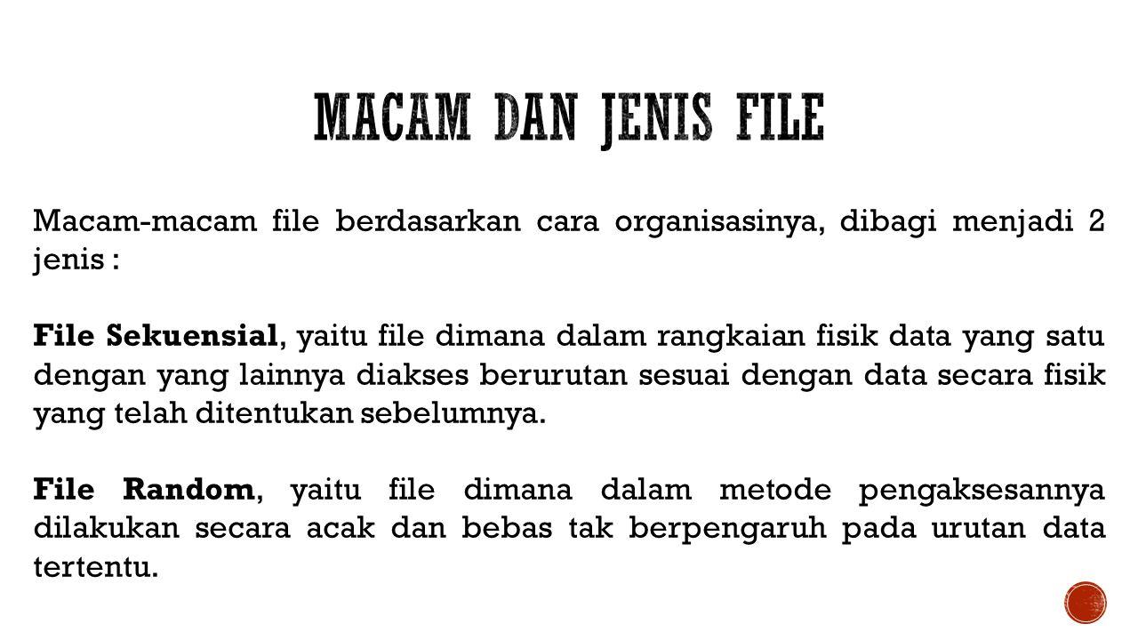 Macam-macam file berdasarkan cara organisasinya, dibagi menjadi 2 jenis : File Sekuensial, yaitu file dimana dalam rangkaian fisik data yang satu deng