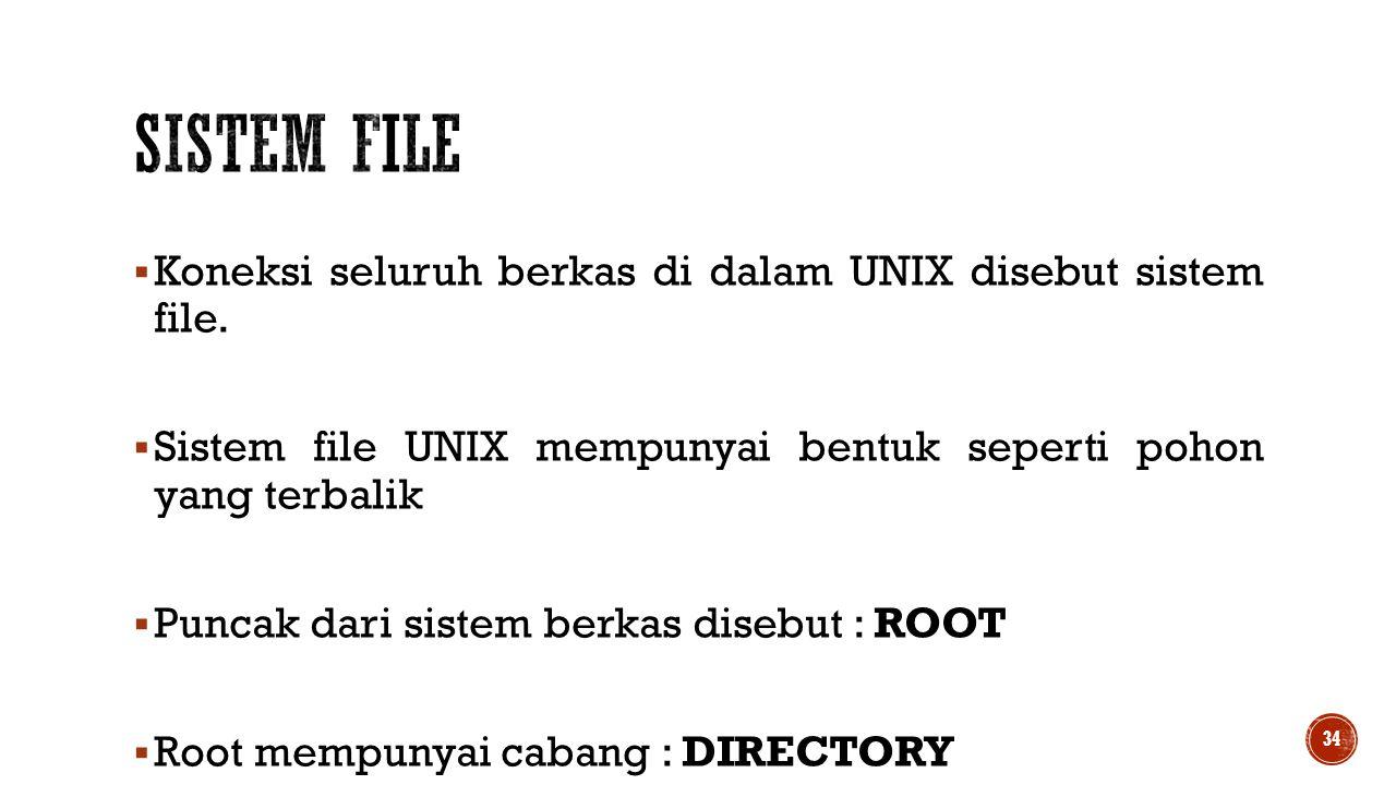  Koneksi seluruh berkas di dalam UNIX disebut sistem file.  Sistem file UNIX mempunyai bentuk seperti pohon yang terbalik  Puncak dari sistem berka