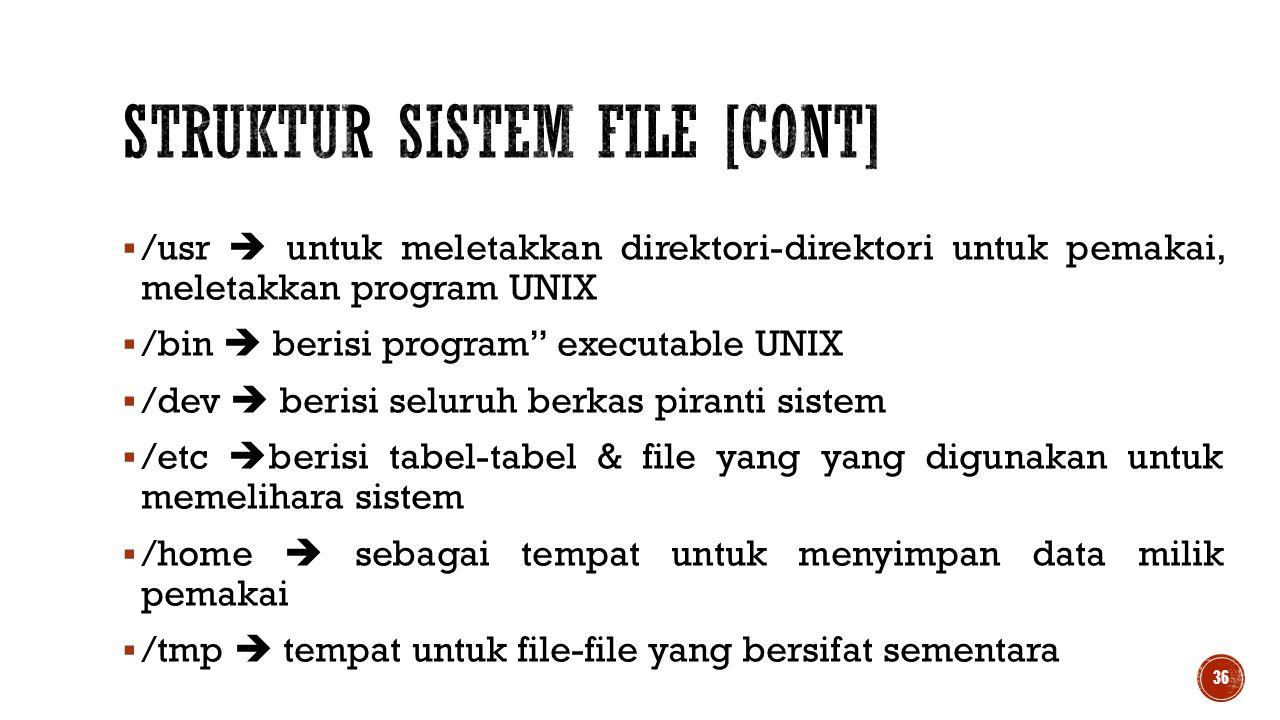 """ /usr  untuk meletakkan direktori-direktori untuk pemakai, meletakkan program UNIX  /bin  berisi program"""" executable UNIX  /dev  berisi seluruh"""