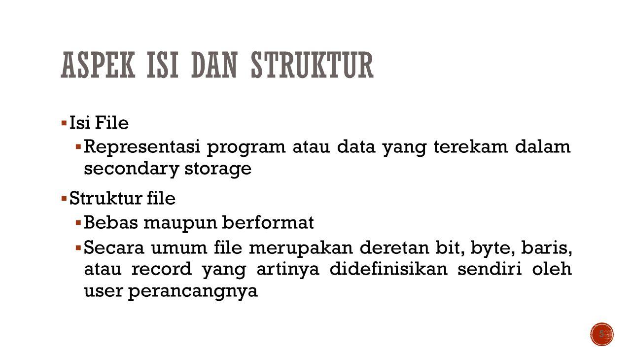 ASPEK ISI DAN STRUKTUR  Isi File  Representasi program atau data yang terekam dalam secondary storage  Struktur file  Bebas maupun berformat  Sec