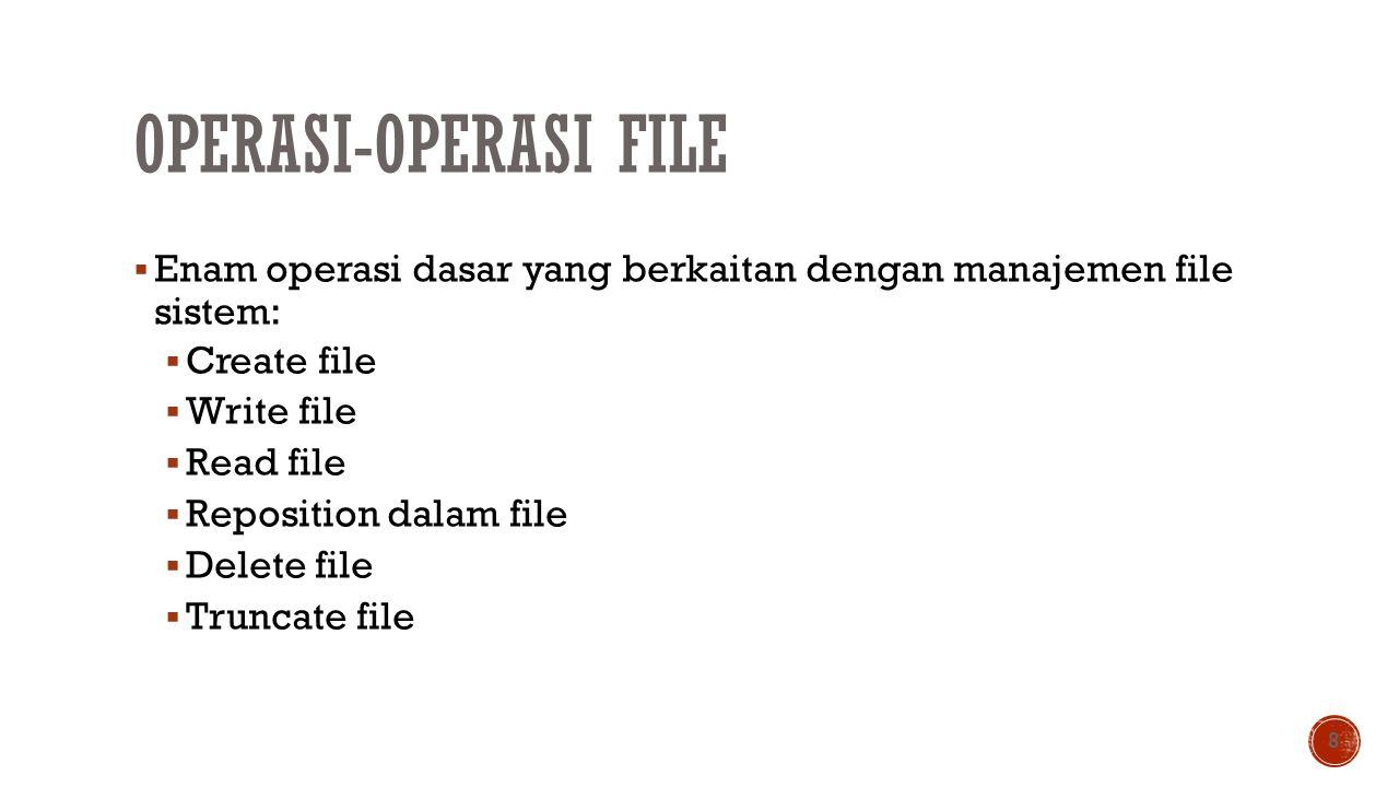 OPERASI-OPERASI FILE  Enam operasi dasar yang berkaitan dengan manajemen file sistem:  Create file  Write file  Read file  Reposition dalam file