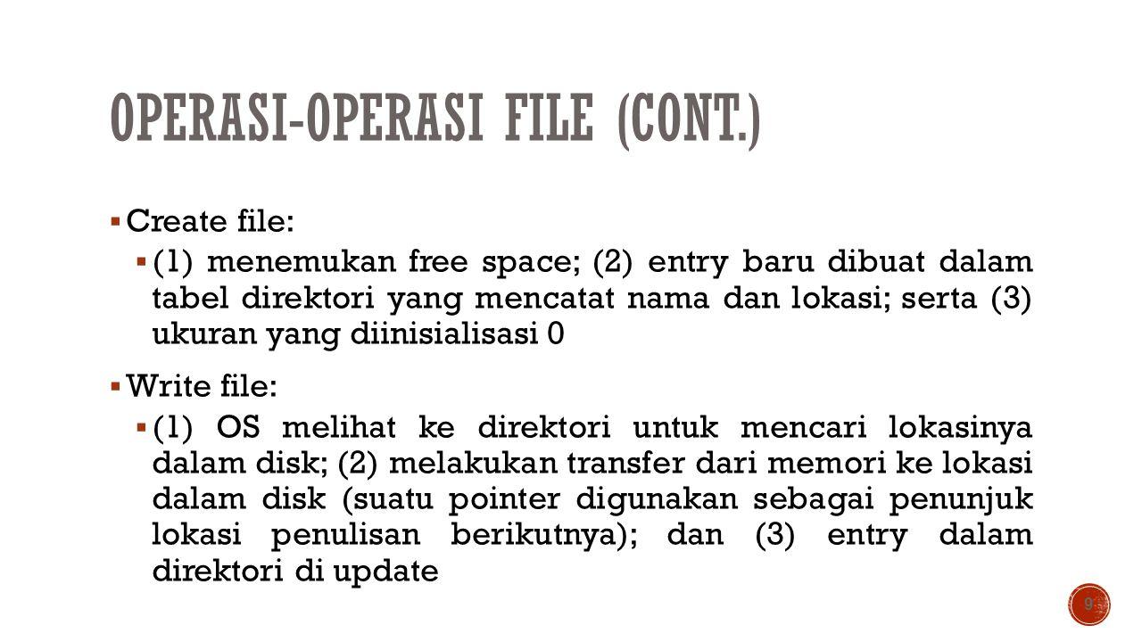 OPERASI-OPERASI FILE (CONT.)  Create file:  (1) menemukan free space; (2) entry baru dibuat dalam tabel direktori yang mencatat nama dan lokasi; ser