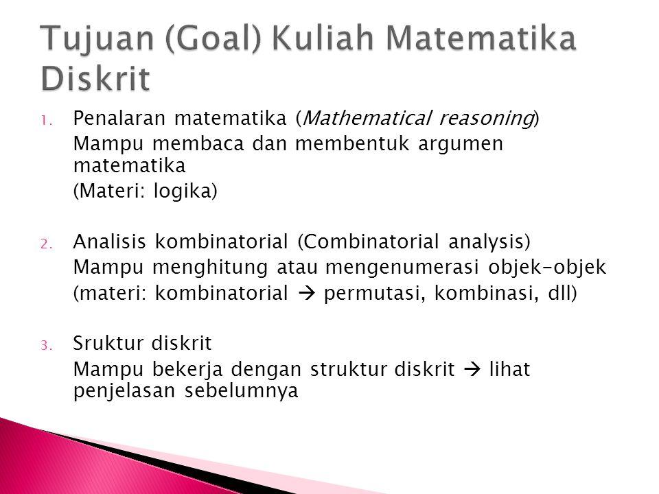 1. Penalaran matematika (Mathematical reasoning) Mampu membaca dan membentuk argumen matematika (Materi: logika) 2. Analisis kombinatorial (Combinator