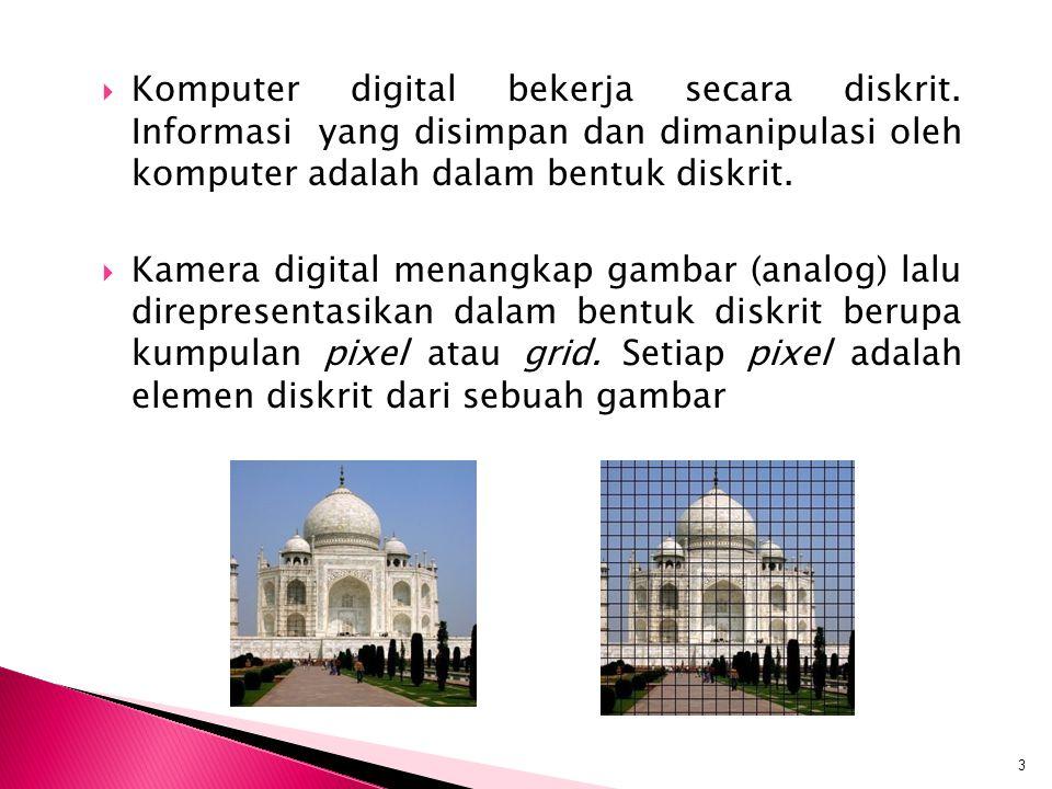  Komputer digital bekerja secara diskrit. Informasi yang disimpan dan dimanipulasi oleh komputer adalah dalam bentuk diskrit.  Kamera digital menang