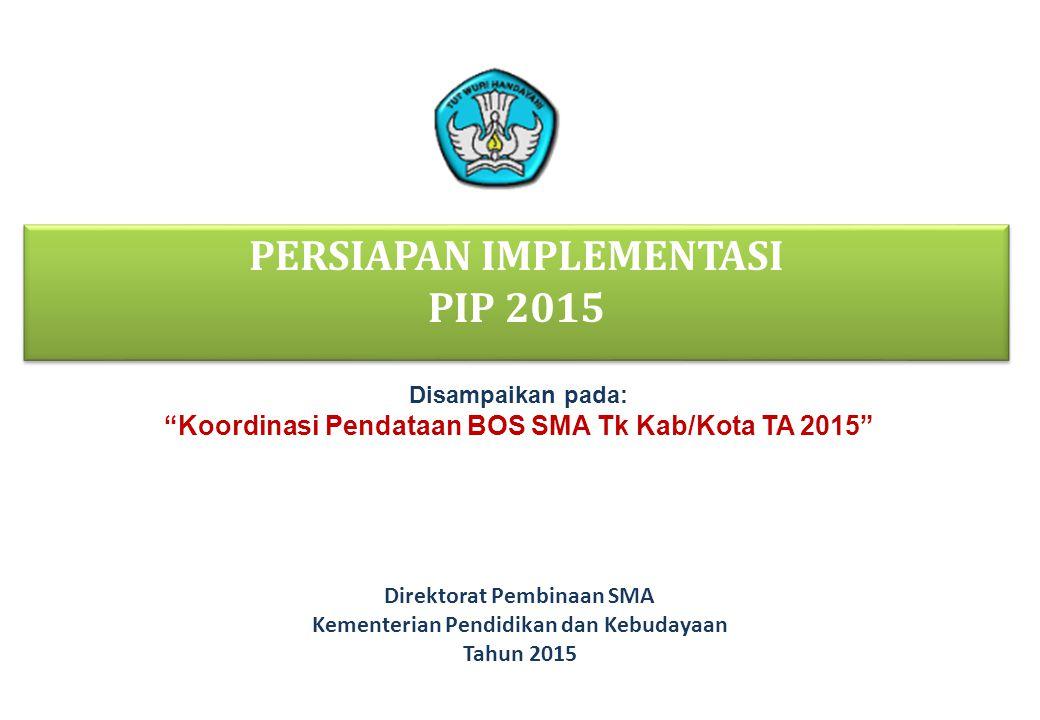32 RENCANA PERSIAPAN PELAKSANAAN PROGRAM INDONESIA PINTAR/KIP NoKegiatanKemendikbudKemenag 1.Penyaluran manfaat Program Indonesia Pintar 2015 6.2 juta siswa (penerima BSM 2014 dari KPS) + 800 ribu siswa (penerima BSM 2014 dari KPS 2.Pencetakan KIP17.9 juta anak (semua anak usia 6 – 21 tahun yang merupakan anggota keluarga penerima KKS 2015) 2.4 juta anak 3.Pendistribusian KIPBersama dengan distribusi KKS dan KIS ?.
