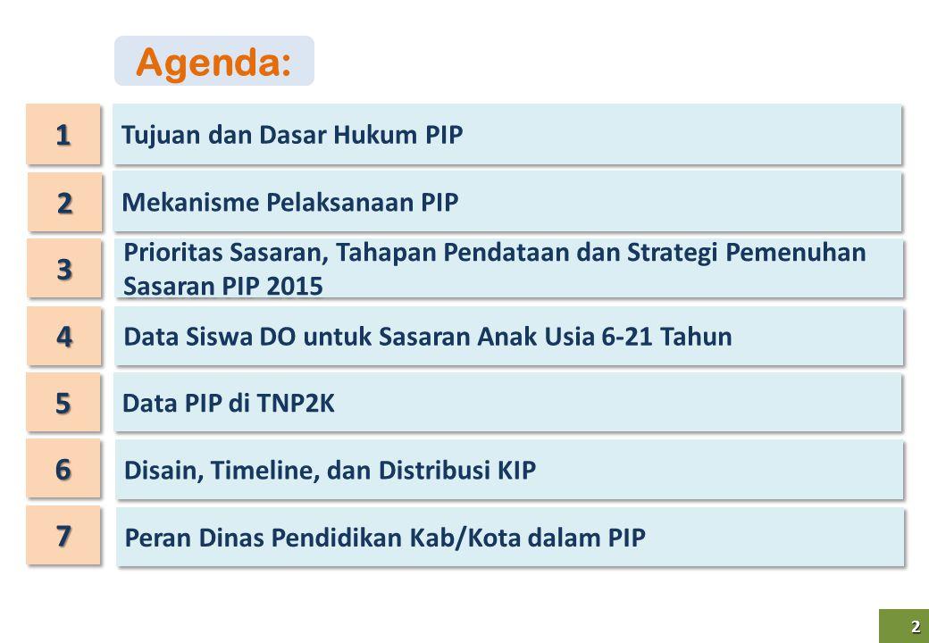2 2 11 33 Mekanisme Pelaksanaan PIP Prioritas Sasaran, Tahapan Pendataan dan Strategi Pemenuhan Sasaran PIP 2015 22 Tujuan dan Dasar Hukum PIP 44 Data