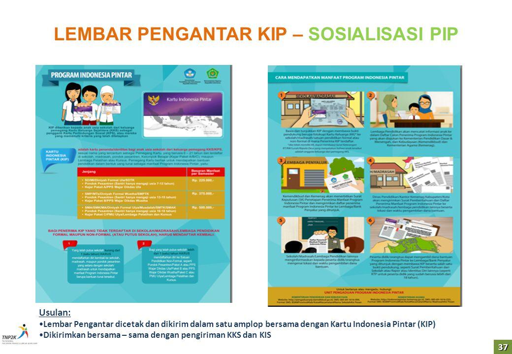 37 LEMBAR PENGANTAR KIP – SOSIALISASI PIP Usulan: Lembar Pengantar dicetak dan dikirim dalam satu amplop bersama dengan Kartu Indonesia Pintar (KIP) D