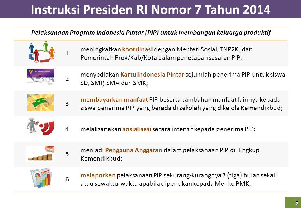 Instruksi Presiden RI Nomor 7 Tahun 2014 5 5 Pelaksanaan Program Indonesia Pintar (PIP) untuk membangun keluarga produktif 1 meningkatkan koordinasi d