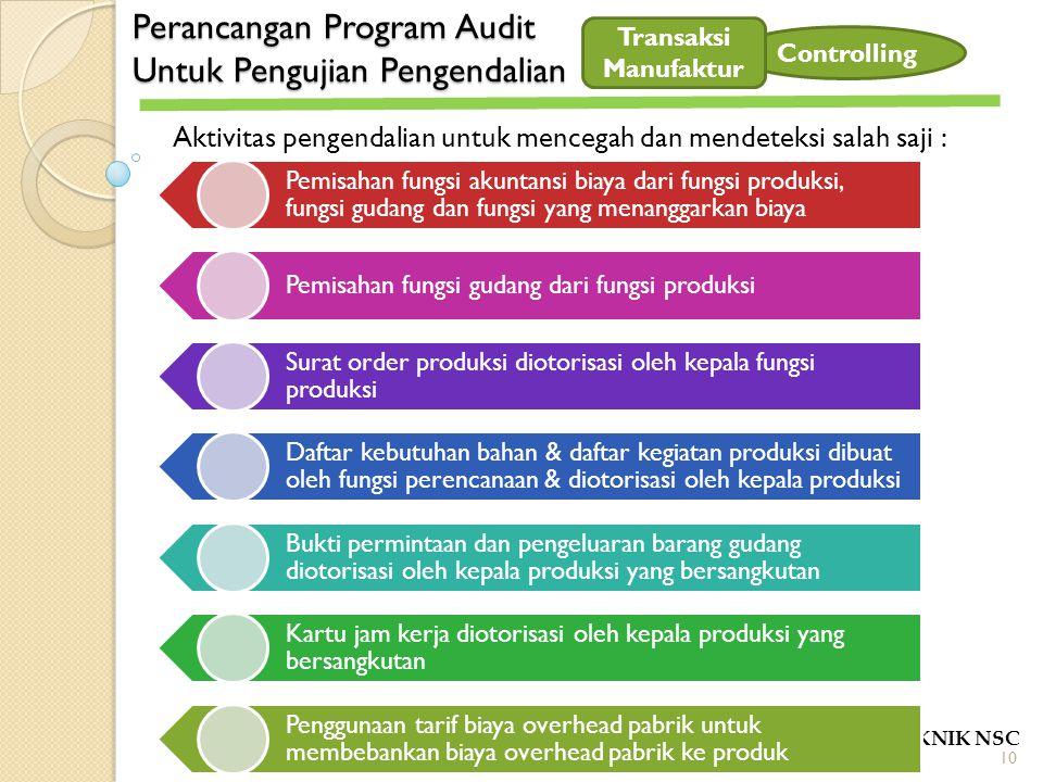 Perancangan Program Audit Untuk Pengujian Pengendalian POLITEKNIK NSC Controlling Aktivitas pengendalian untuk mencegah dan mendeteksi salah saji : Pe
