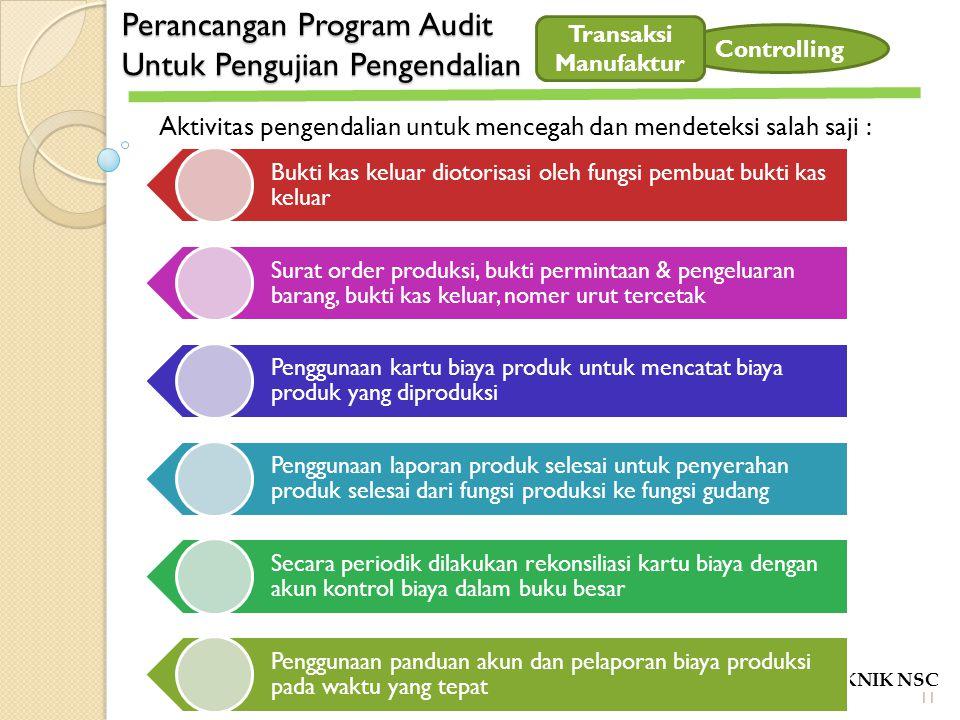 Perancangan Program Audit Untuk Pengujian Pengendalian POLITEKNIK NSC Controlling Aktivitas pengendalian untuk mencegah dan mendeteksi salah saji : Bu