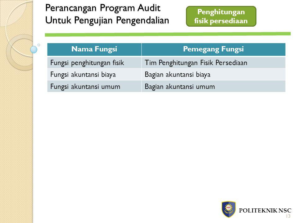Perancangan Program Audit Untuk Pengujian Pengendalian POLITEKNIK NSC Penghitungan fisik persediaan Nama FungsiPemegang Fungsi Fungsi penghitungan fis