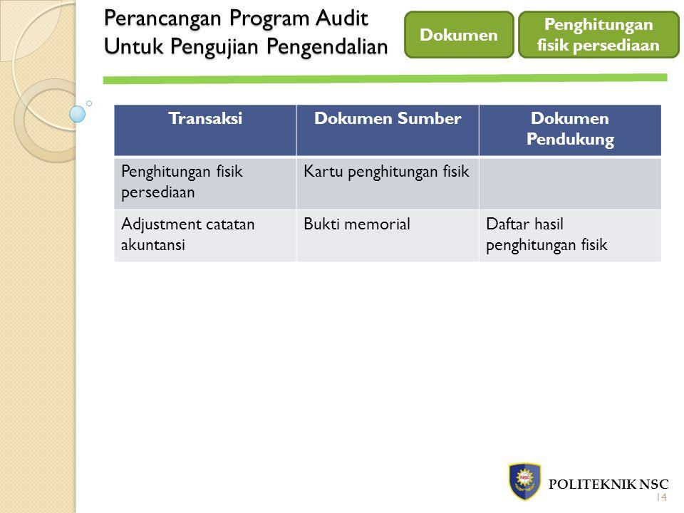 Perancangan Program Audit Untuk Pengujian Pengendalian POLITEKNIK NSC Dokumen 14 Penghitungan fisik persediaan TransaksiDokumen SumberDokumen Pendukun
