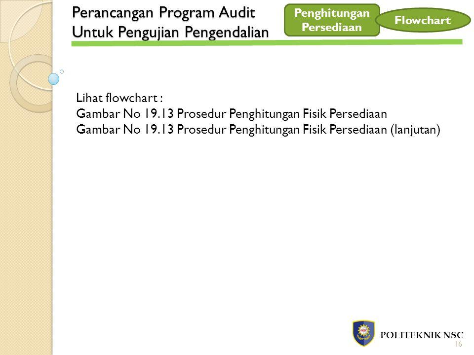 Perancangan Program Audit Untuk Pengujian Pengendalian POLITEKNIK NSC 16 Penghitungan Persediaan Flowchart Lihat flowchart : Gambar No 19.13 Prosedur