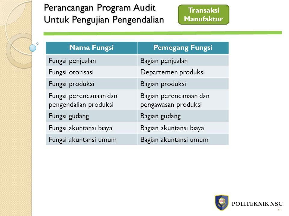 Perancangan Program Audit Untuk Pengujian Pengendalian POLITEKNIK NSC Transaksi Manufaktur Nama FungsiPemegang Fungsi Fungsi penjualanBagian penjualan