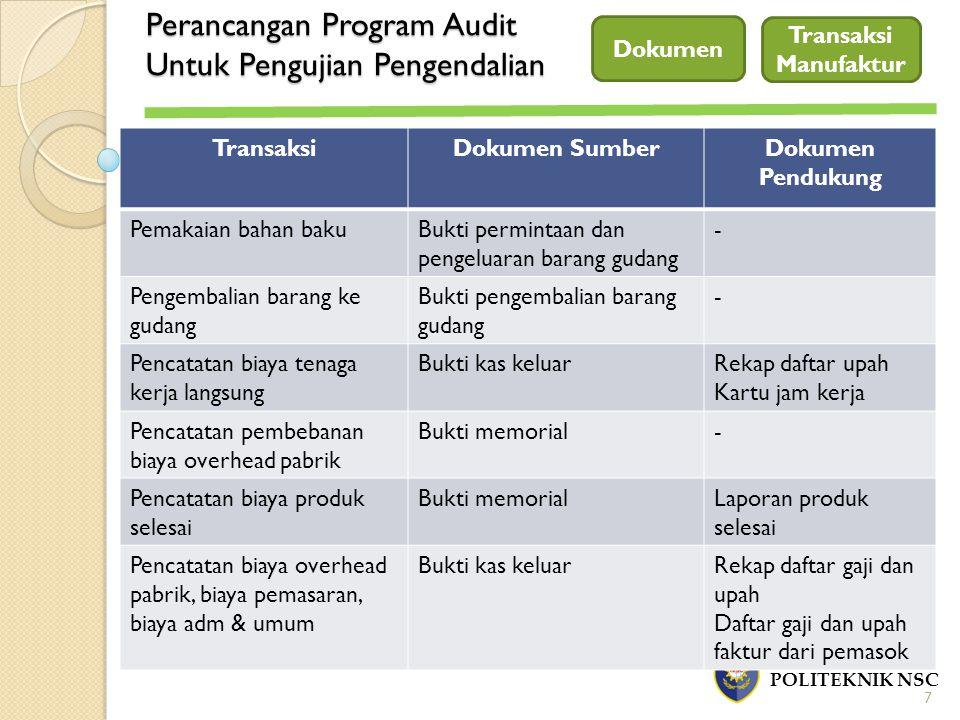 Perancangan Program Audit Untuk Pengujian Pengendalian POLITEKNIK NSC Dokumen 7 Transaksi Manufaktur TransaksiDokumen SumberDokumen Pendukung Pemakaia