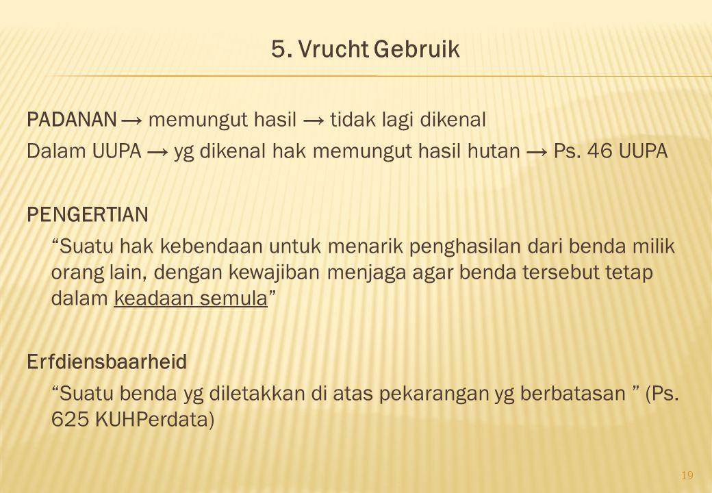 """5. Vrucht Gebruik PADANAN → memungut hasil → tidak lagi dikenal Dalam UUPA → yg dikenal hak memungut hasil hutan → Ps. 46 UUPA PENGERTIAN """"Suatu hak k"""