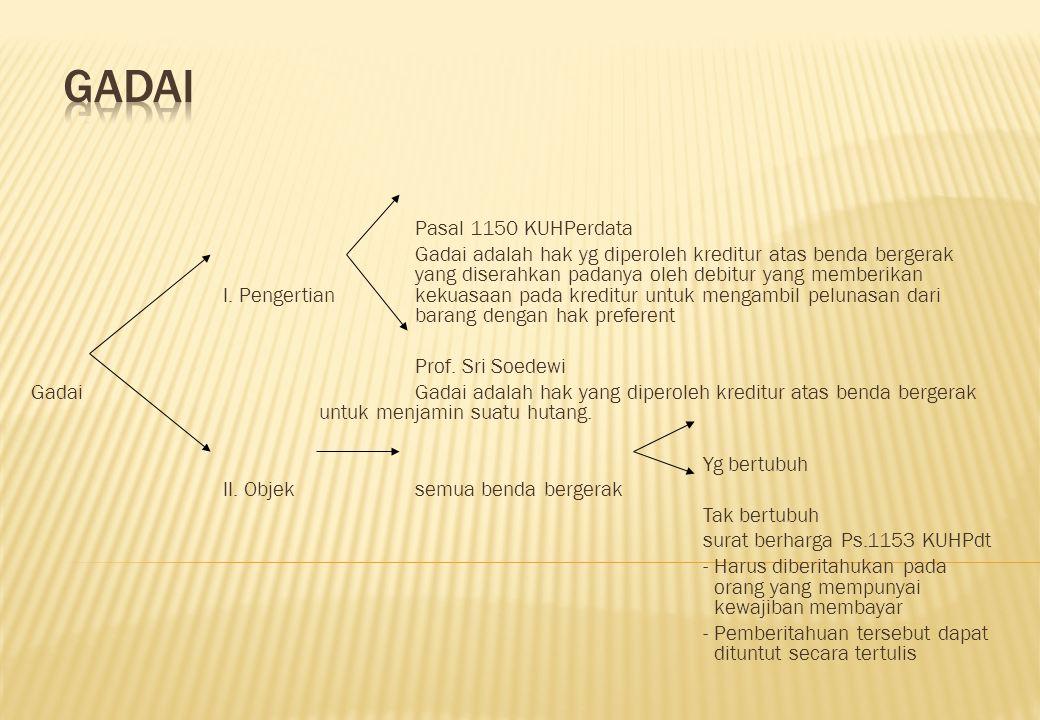Pasal 1150 KUHPerdata Gadai adalah hak yg diperoleh kreditur atas benda bergerak yang diserahkan padanya oleh debitur yang memberikan I. Pengertian ke