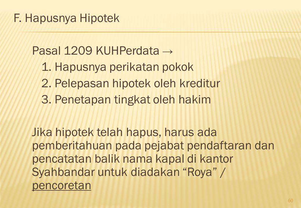 F. Hapusnya Hipotek Pasal 1209 KUHPerdata → 1. Hapusnya perikatan pokok 2. Pelepasan hipotek oleh kreditur 3. Penetapan tingkat oleh hakim Jika hipote