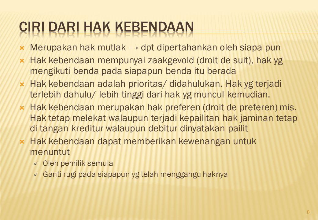 (7).UUJF No.42/1999 a. Objek benda Bergerak Benda berwujud Tak berwujud Tetap b.