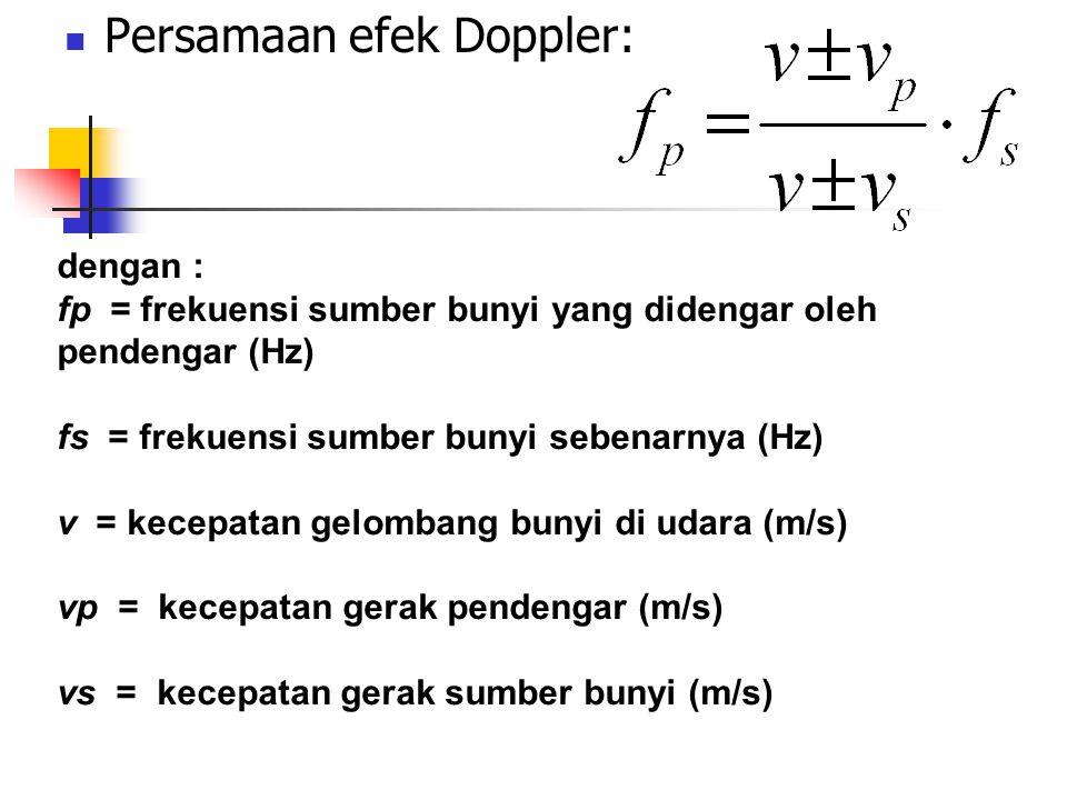 Persamaan efek Doppler: dengan : fp = frekuensi sumber bunyi yang didengar oleh pendengar (Hz) fs = frekuensi sumber bunyi sebenarnya (Hz) v = kecepat