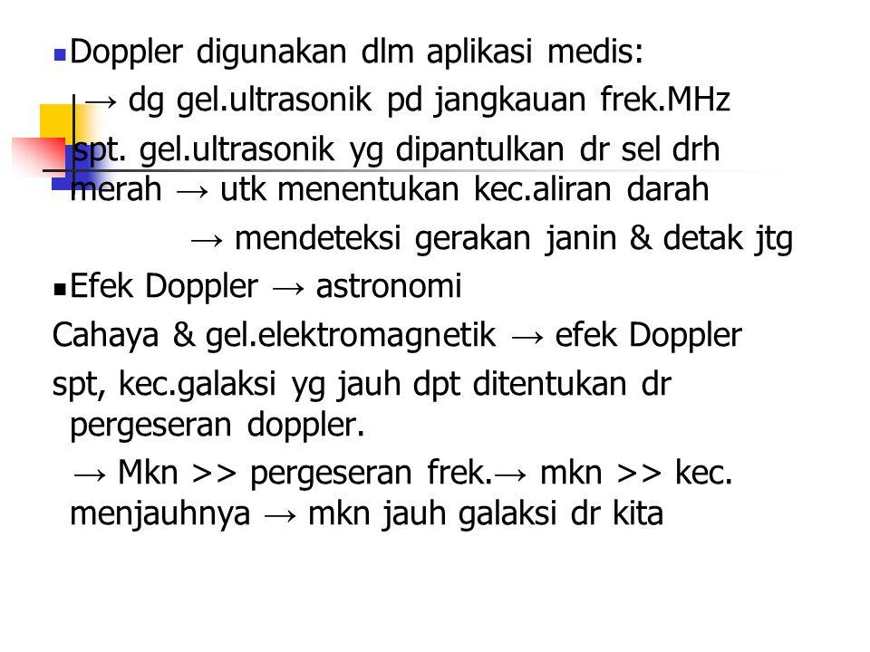 Doppler digunakan dlm aplikasi medis: → dg gel.ultrasonik pd jangkauan frek.MHz spt. gel.ultrasonik yg dipantulkan dr sel drh merah → utk menentukan k