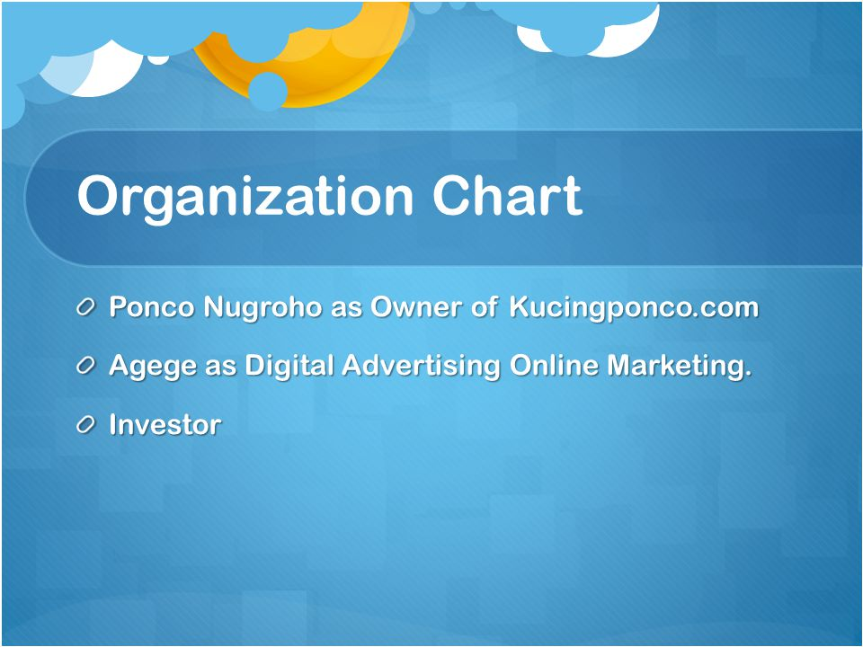 Organization Chart Ponco Nugroho as Owner of Kucingponco.com Agege as Digital Advertising Online Marketing. Investor