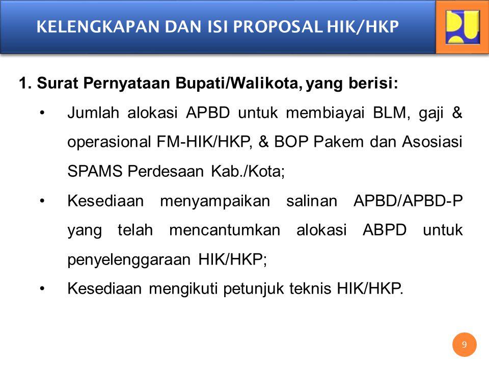 KELENGKAPAN DAN ISI PROPOSAL HIK/HKP 1.Surat Pernyataan Bupati/Walikota, yang berisi: Jumlah alokasi APBD untuk membiayai BLM, gaji & operasional FM-H