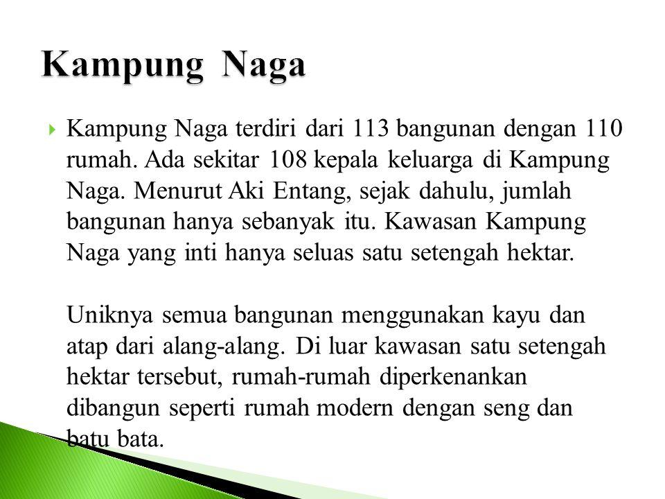  Kampung Naga terdiri dari 113 bangunan dengan 110 rumah. Ada sekitar 108 kepala keluarga di Kampung Naga. Menurut Aki Entang, sejak dahulu, jumlah b
