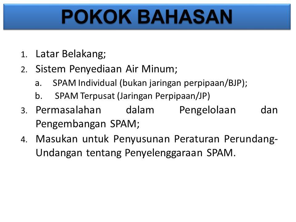 POKOK BAHASAN 1. Latar Belakang; 2. Sistem Penyediaan Air Minum; a.SPAM Individual (bukan jaringan perpipaan/BJP); b. SPAM Terpusat (Jaringan Perpipaa
