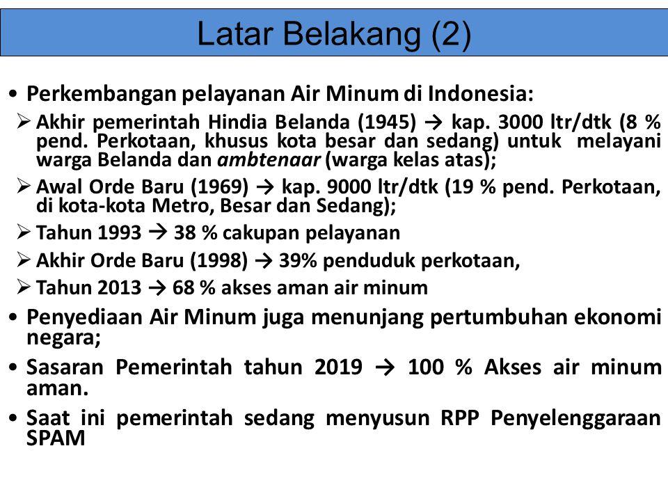 Perkembangan pelayanan Air Minum di Indonesia:  Akhir pemerintah Hindia Belanda (1945) → kap. 3000 ltr/dtk (8 % pend. Perkotaan, khusus kota besar da