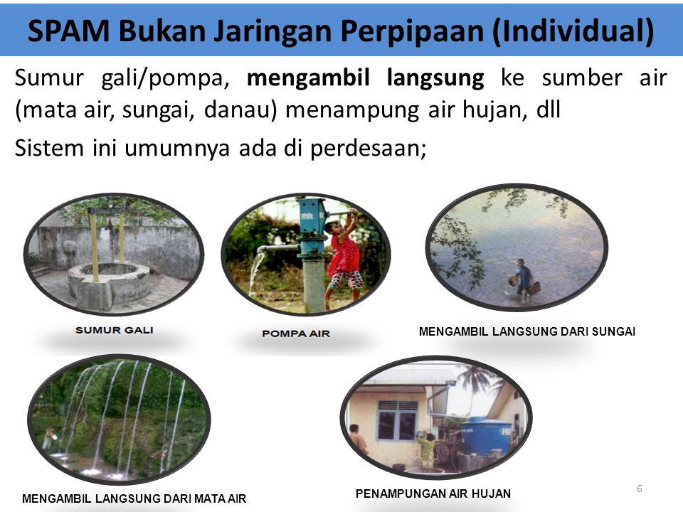 SPAM Bukan Jaringan Perpipaan (Individual) Sumur gali/pompa, mengambil langsung ke sumber air (mata air, sungai, danau) menampung air hujan, dll Siste