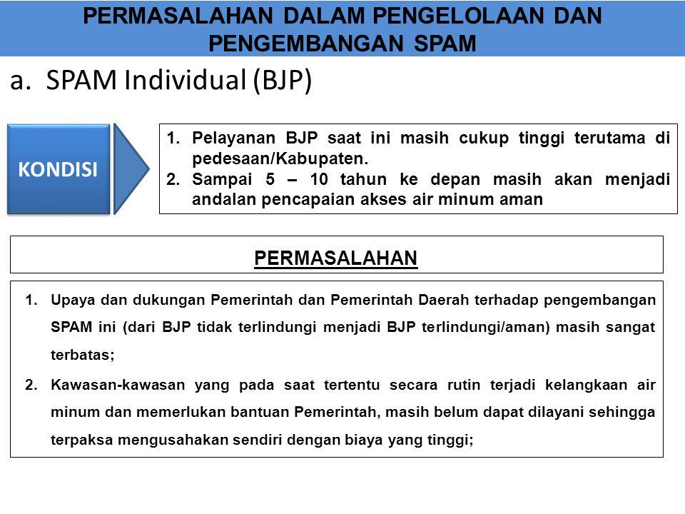 a. SPAM Individual (BJP) PERMASALAHAN DALAM PENGELOLAAN DAN PENGEMBANGAN SPAM 1.Upaya dan dukungan Pemerintah dan Pemerintah Daerah terhadap pengemban